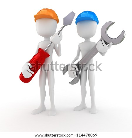 3d man holding a screwdriver and a wrench - stock photo