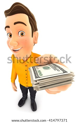 3d man holding a stack of dollar bills, isolated white background