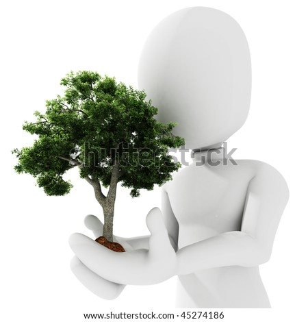 3d man holding a tree - stock photo