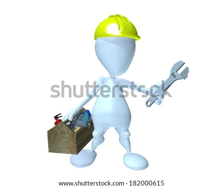 3d man holding a wrench while under construction