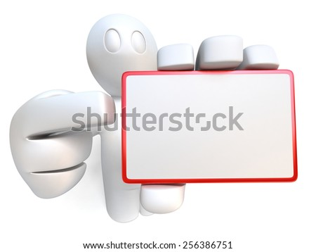 3d man holding blank business card, isolated on white background