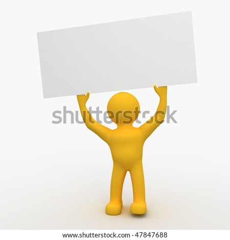 3D Man Holding Blank Sign - stock photo