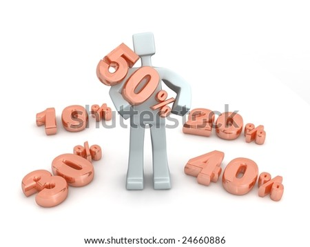 3d man holding fifty percent sign - stock photo