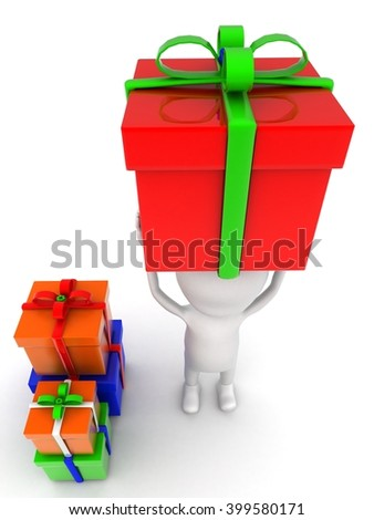 3d man holding gift on head and with many other gifts concept on white background - 3d rendering , top angle view - stock photo