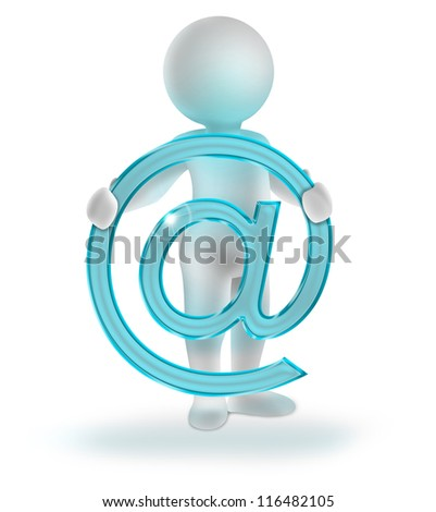 3d man holding glossy email symbol - stock photo
