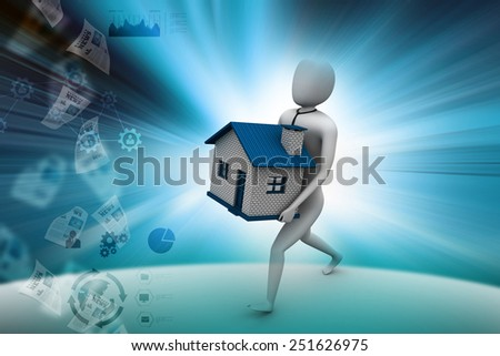 3d man holding house - stock photo