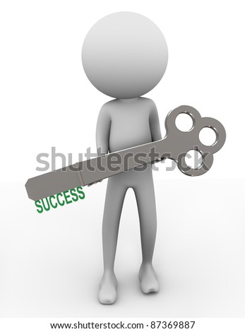 3d man holding key with word 'success' - stock photo