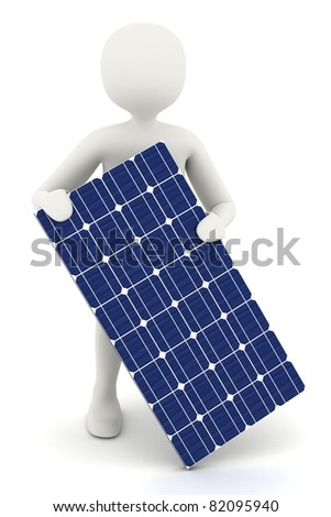 3d man holding one piece of solar panel - stock photo