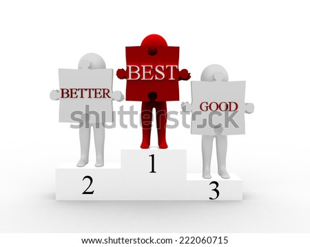 3d man holding puzzle with good .better and best - stock photo