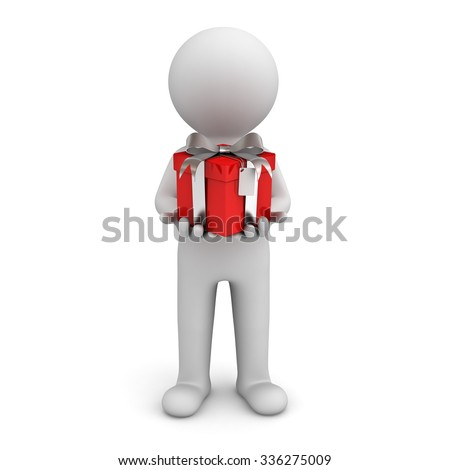 3d man holding red gift box isolated over white background - stock photo