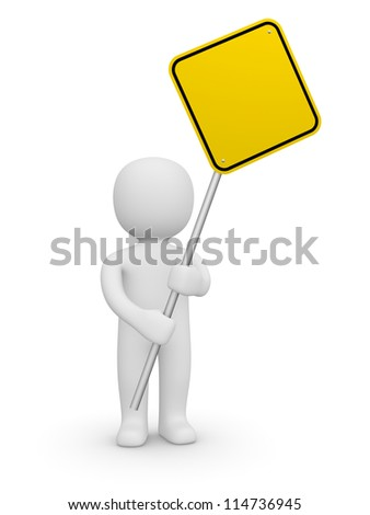 3d man holding the empty road sign. 3d rendering. - stock photo