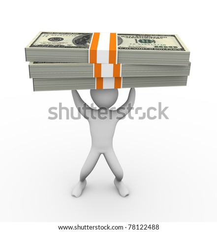 3d man holding thousand dollar pack - stock photo