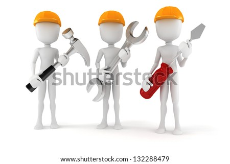 3d man holding tools, on white background