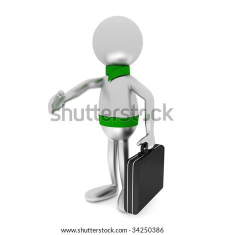 3D man holds briefcase isolated on white.