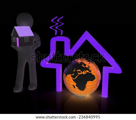 3d man, house icon and earth - stock photo
