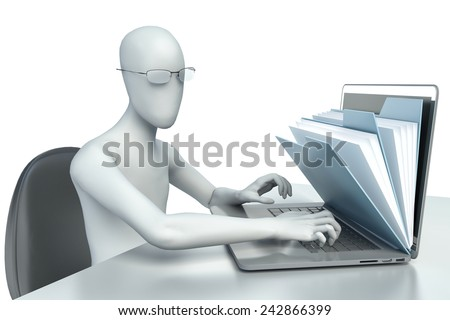 3d man - human character, person to an office and a laptop - stock photo