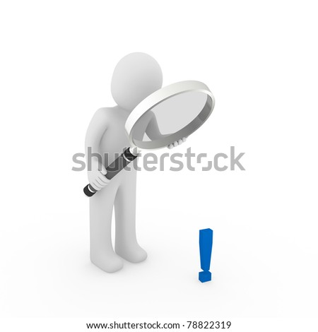 3d man human loupe glass exclamation mark blue - stock photo