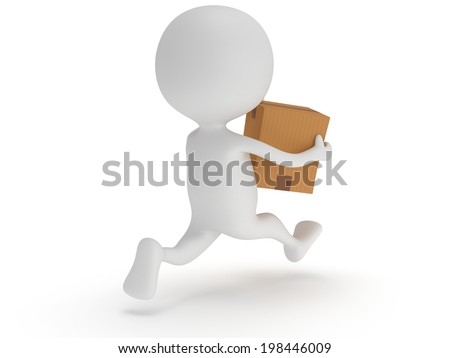 3d man icon running with a box in his hand. Fast delivery concept.