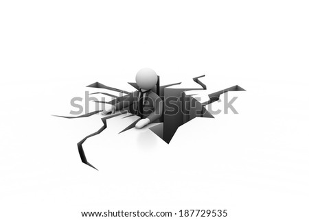 3d man in a difficult situation - stock photo