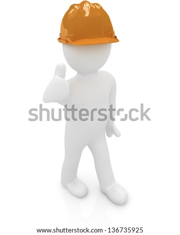 3d man in a hard hat with thumb up