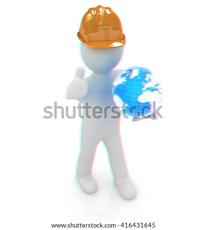 "3d man in a hard hat with thumb up presents concept: ""My company is building worldwide"" on a white background. 3D illustration. Anaglyph. View with red/cyan glasses to see in 3D. - stock photo"