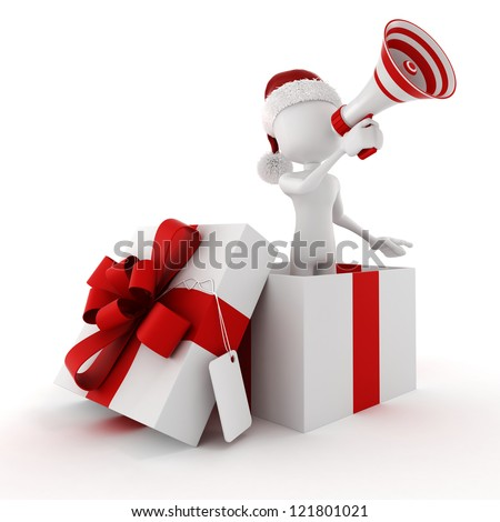 3D man in a present box - stock photo