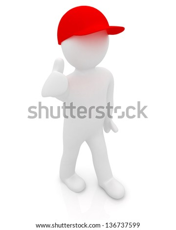 3d man in a red peaked cap with thumb up