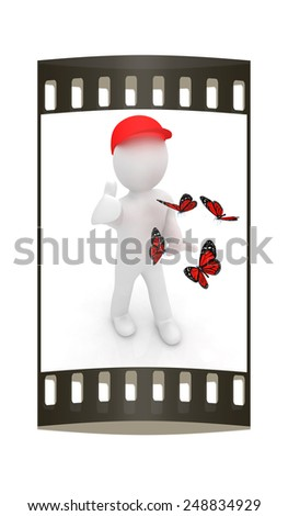 3d man in a red peaked cap with thumb up and butterflies on a white background. The film strip - stock photo