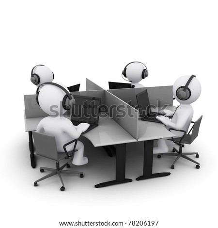 3D man in call center with headphones - stock photo