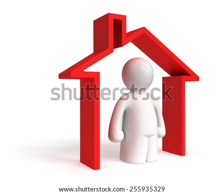 3d man in conceptual home on white background - stock photo