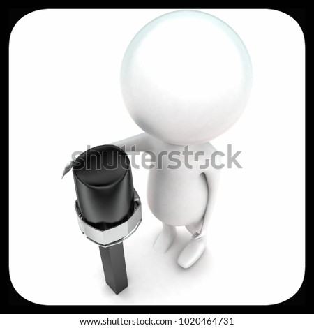 3d man in front of mic concept in white isolated background - 3d rendering ,  top angle view