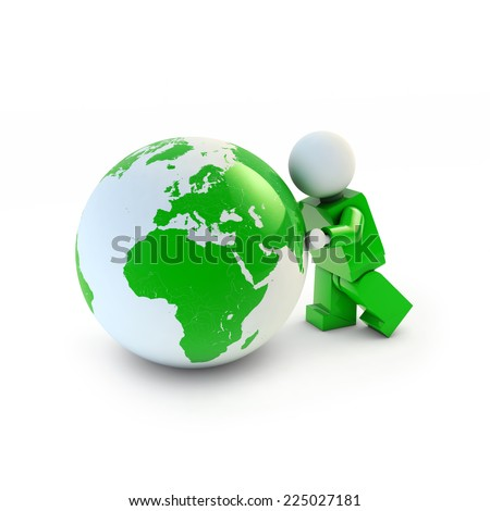 3d man in green suit pushing green eco earth, 3d illustration, Africa