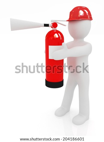 3d man in hardhat with red fire extinguisher on a white background - stock photo