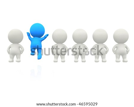 3D man in line standing out - isolated over a white background - stock photo