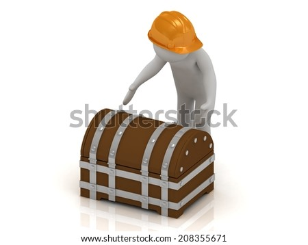 3D man in orange helmet is going to open a old wooden chest with gold - stock photo