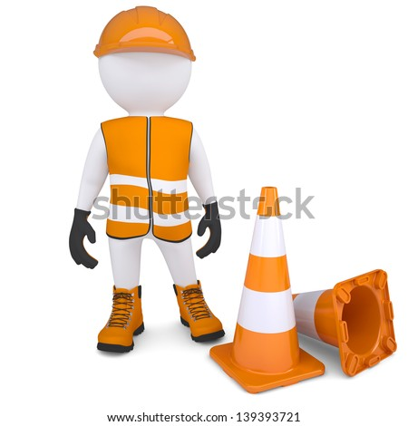 3d man in overalls beside traffic cones. Isolated render on a white background - stock photo