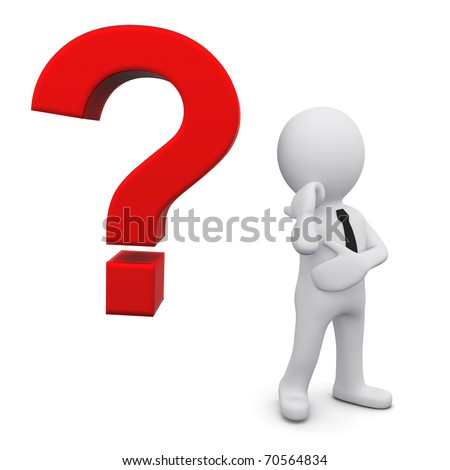 3D man in tie near red question sign - stock photo