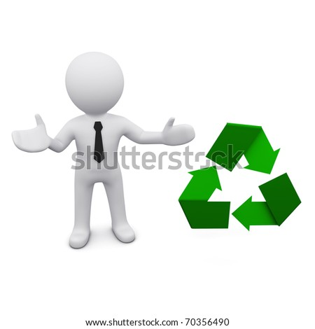 3D man inn a tie standing near green recycle sign - stock photo