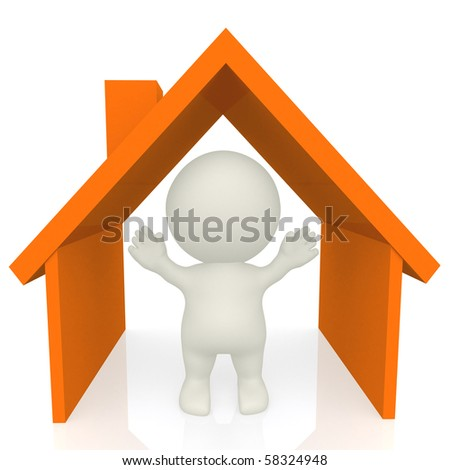 3D man inside an orange house isolated over a white background - stock photo