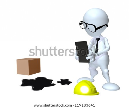 3d man inspecting slip and fall workplace accident - stock photo