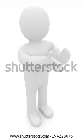 3d man isolated on white. Series: human emotions - clapping - stock photo