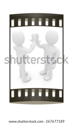 3d man isolated on white. Series: human emotions - five between two persons that celebrate a success. The film strip - stock photo