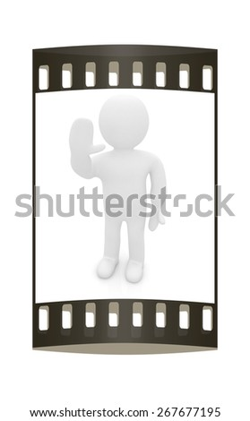 "3d man isolated on white. Series: human emotions - greeting ""Hi"". The film strip - stock photo"