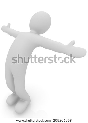 3d man isolated on white. Series: morning exercises - flexibility exercises and stretching - stock photo