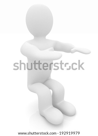 3d man isolated on white. Series: morning exercises - hands forward and squatting