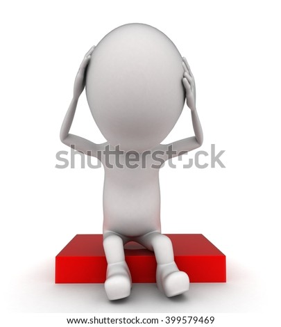 3d man itching head with both hands and in stress concept on white background - 3d rendering , front angle view - stock photo