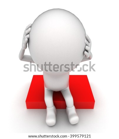 3d man itching head with both hands and in stress concept on white background - 3d rendering , top angle view - stock photo