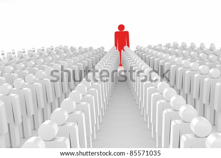 3D man joining a group of people