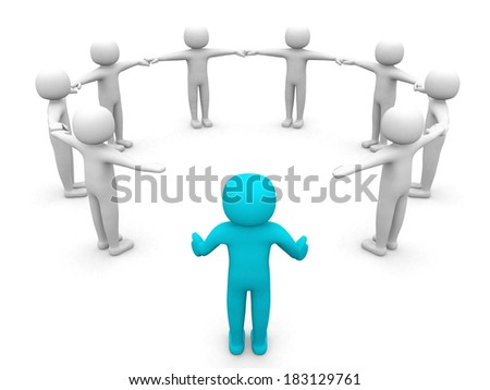 3D man joining a group of people in a circle over a white background - stock photo