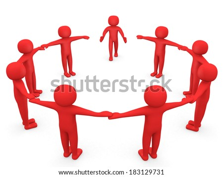3D man joining a group of people in a circle over a white background. 3d render